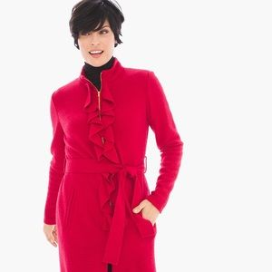 Chico's boiled wool jacket. Midi. Red ruffles.